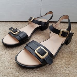 Rockport Womens Sandals Black Gold Buckles 7.5